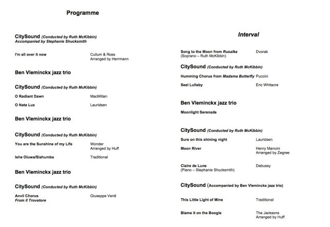 CitySound ~ 'Shine the Light' Concert Programme