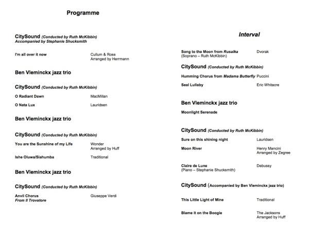 CitySound ~ 'Shine the Light' Concert Programme