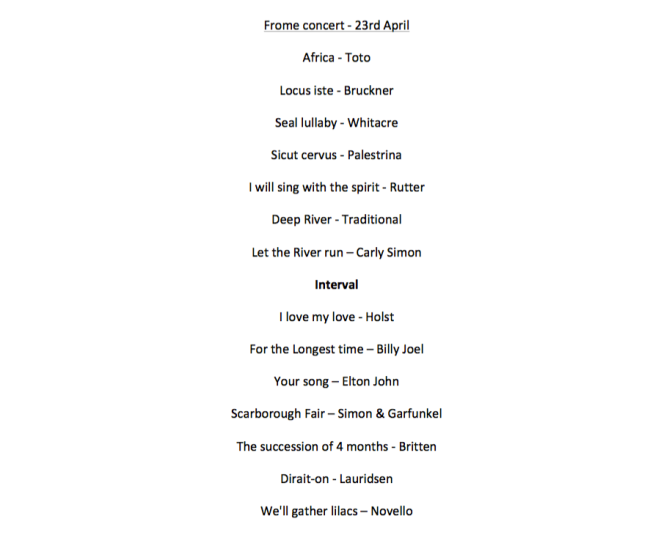 Songs of Spring Concert programme