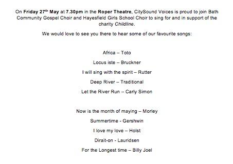 Sing for childline concert poster