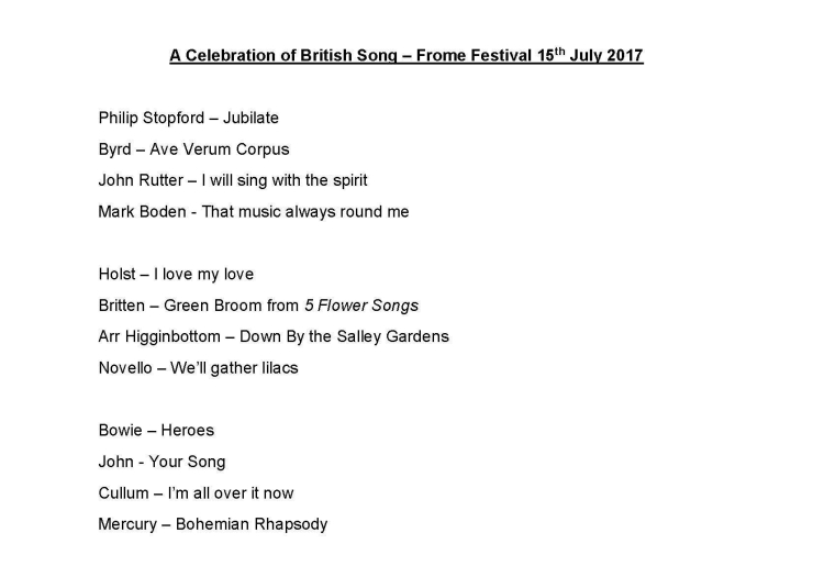 Frome Concert A Celebration of British Song 15 07 17